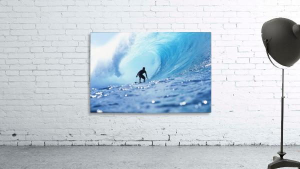 Hawaii, Oahu, North Shore, Silhouette Of Surfer In Pipeline Barrel