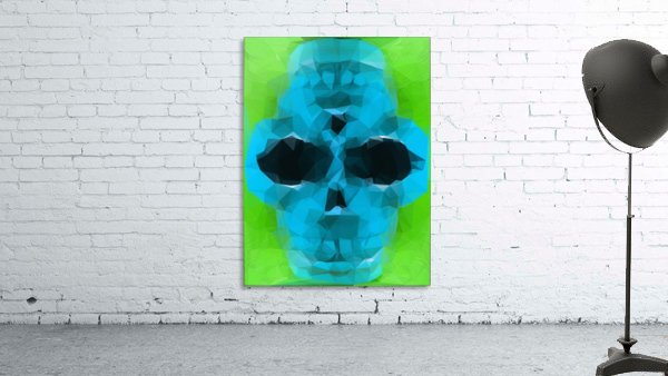 psychedelic skull art geometric triangle abstract pattern in blue and green