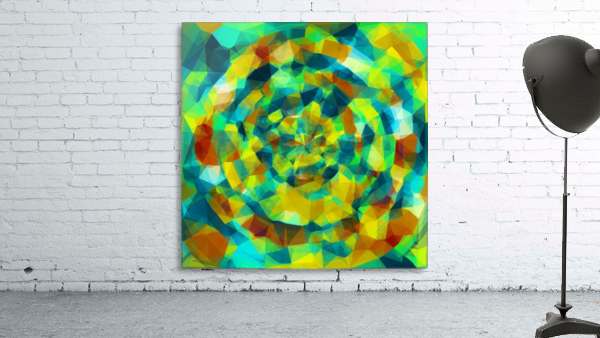 psychedelic geometric polygon pattern abstract in blue yellow green brown