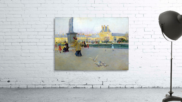 City view with figures and birds in Paris