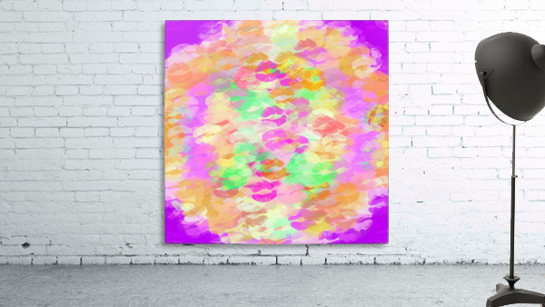 sexy kiss lipstick abstract pattern in pink orange yellow green
