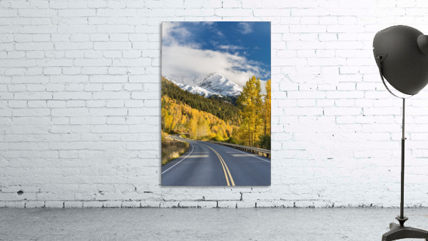 Snow-capped Kenai Mountains dwarf the Seward highway, trees covered in yellow leaves in autumn line the road, South-central Alaska; Seward, Alaska, United States of America