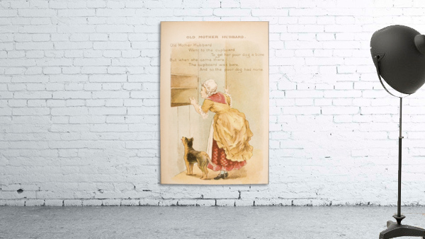 Old Mother Hubbard from Old Mother Goose's Rhymes and Tales  Illustration by Constance Haslewood  Published by Frederick Warne & Co London and New York circa 1890s  Chromolithography by Emrik & Binger of Holland