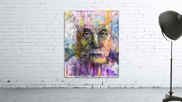Illustration of a man's face with colourful abstract patterns surrounding it