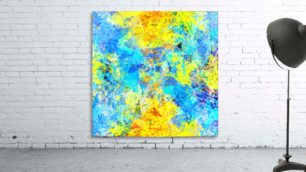 psychedelic geometric abstract pattern in yellow and blue
