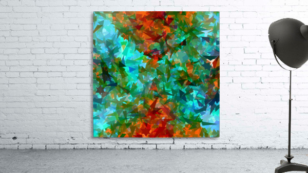 psychedelic geometric abstract pattern in green blue orange