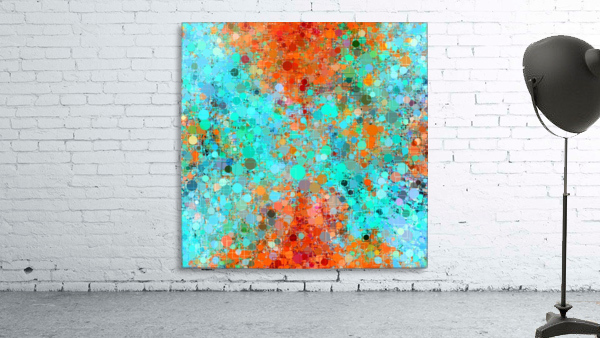 psychedelic geometric circle pattern and square pattern abstract in orange and blue