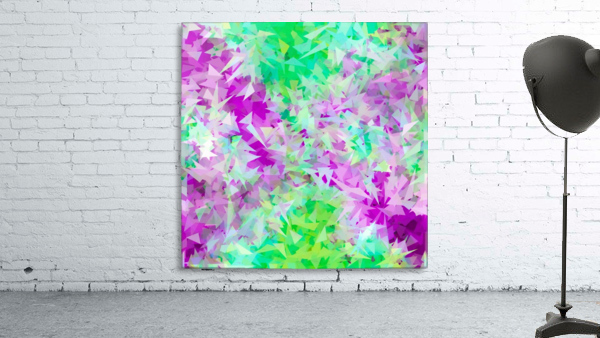 psychedelic geometric triangle abstract pattern in purple and green