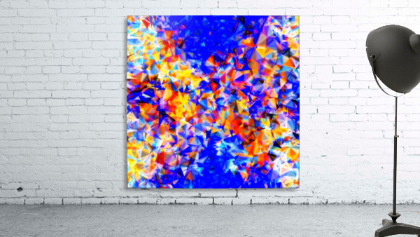 psychedelic geometric triangle abstract pattern in blue orange yellow