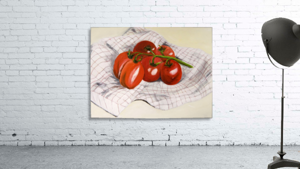 Tomatoes on a Striped Cloth