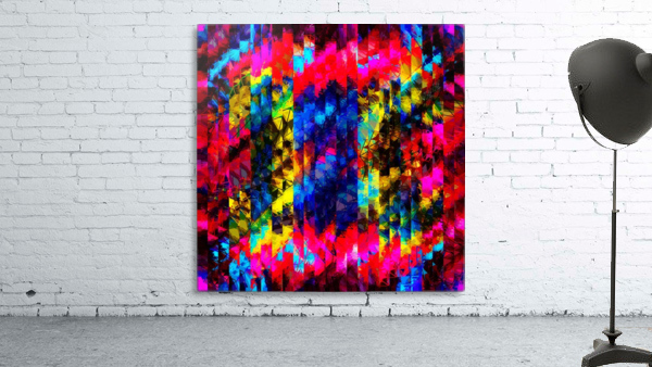psychedelic geometric painting abstract pattern in red pink blue yellow