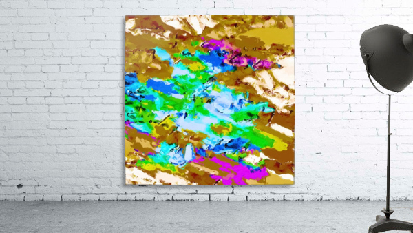 psychedelic splash painting abstract texture in brown green blue pink