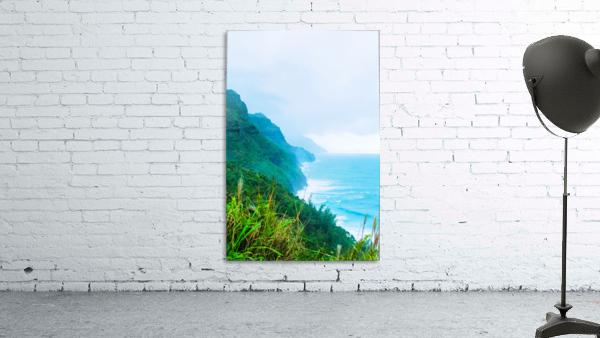 green mountain and ocean view at Kauai, Hawaii, USA