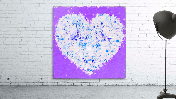 blue and white heart shape with purple background