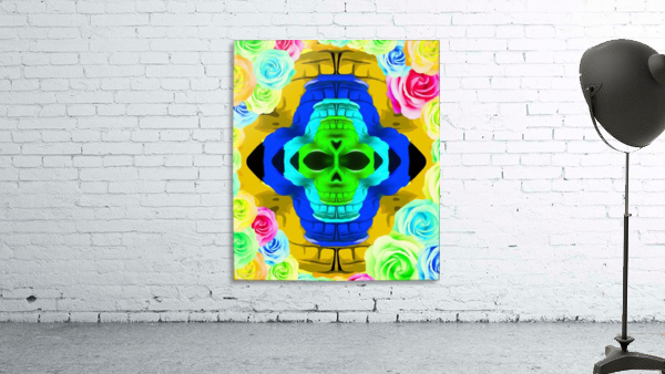 funny skull portrait with colorful roses in pink blue yellow green