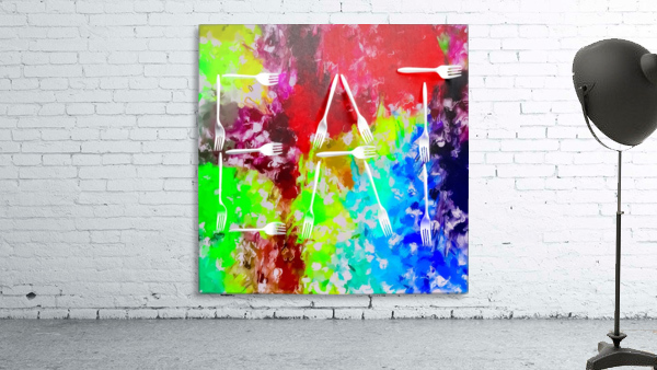 EAT alphabet by fork with colorful painting abstract background