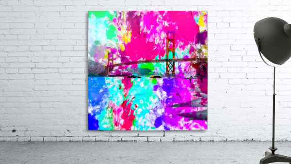 Golden Gate bridge, San Francisco, USA with pink blue green purple painting abstract background