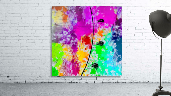 ferris wheel with pink blue green red yellow painting abstract background