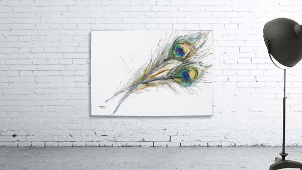 Watercolor Painting Of Two Peacock Feathers.