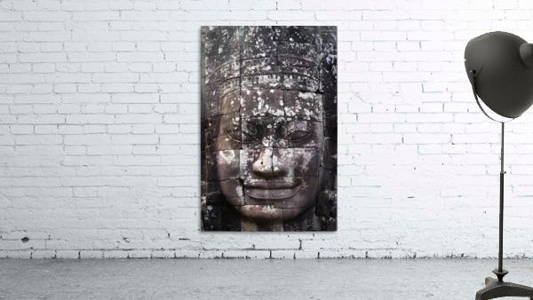 A face sculpture on a stone wall at angkor wat;Cambodia
