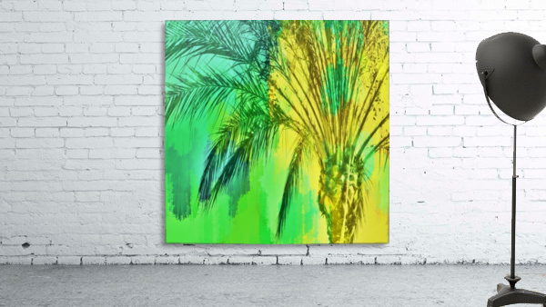 isolate palm tree with painting abstract background in green yellow
