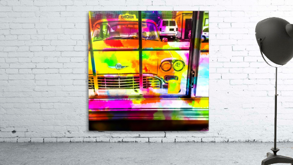 yellow classic taxi car with colorful painting abstract in pink orange green