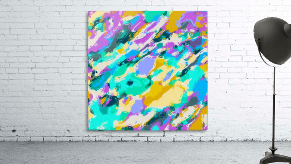 camouflage pattern painting abstract background in green blue purple yellow