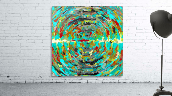 psychedelic circle pattern painting abstract background in green blue yellow brown