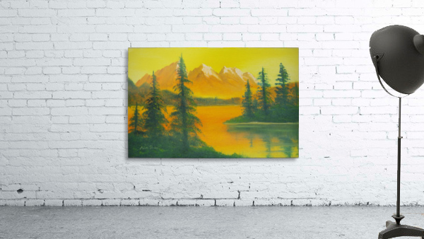 Yellow sky- snow capped mountains.