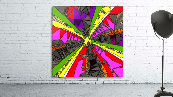 psychedelic geometric pattern drawing abstract background in red pink green yellow