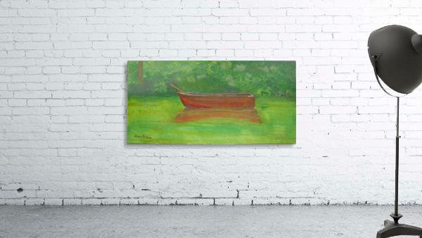 Rowboat drifting.