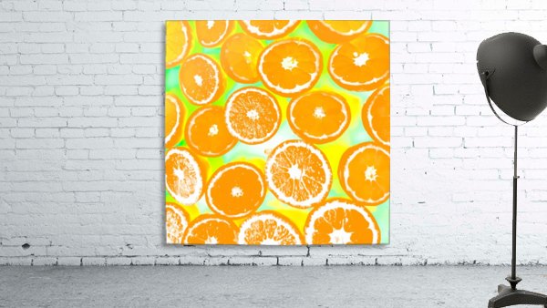 juicy orange pattern abstract with yellow and green background
