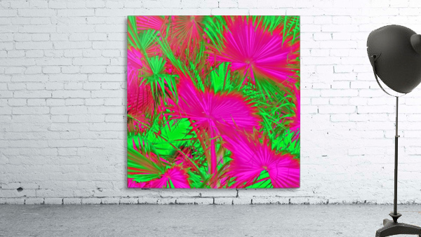 closeup palm leaf texture abstract background in pink and green