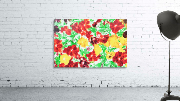 red flower and yellow flower with green leaf abstract background