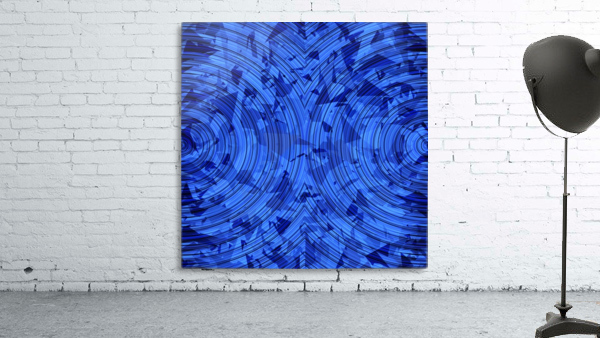 psychedelic geometric circle pattern abstract background in blue