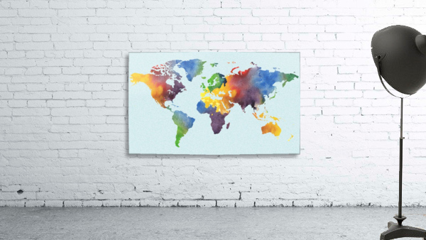 Bright Watercolor Map Of The World