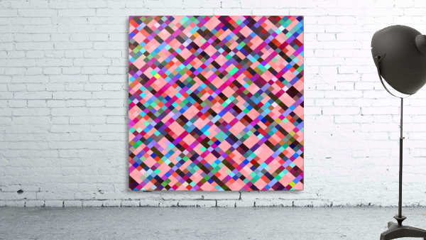 geometric pixel square pattern abstract background in pink purple blue yellow green