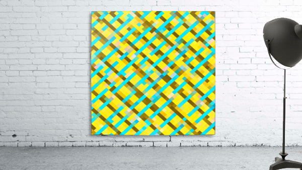 geometric pixel square pattern abstract background in yellow blue brown