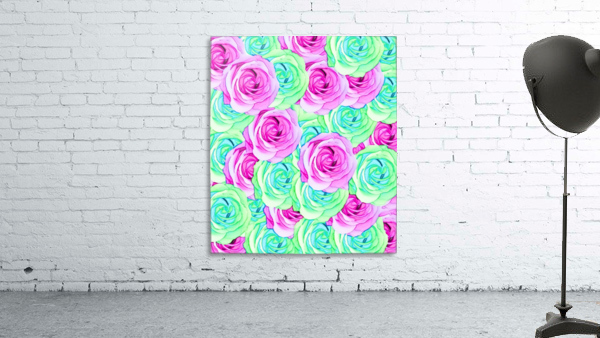 blooming rose texture pattern abstract background in pink and green