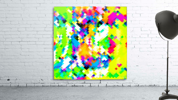 psychedelic geometric pixel abstract pattern in yellow blue green pink