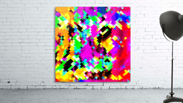 psychedelic geometric pixel abstract pattern in pink purple blue green yellow