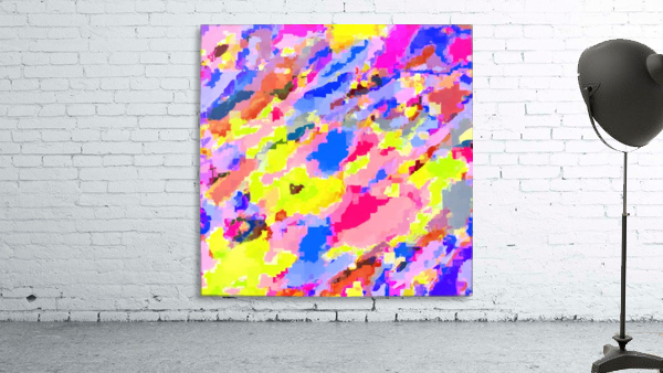 psychedelic geometric square pixel pattern abstract in pink yellow blue