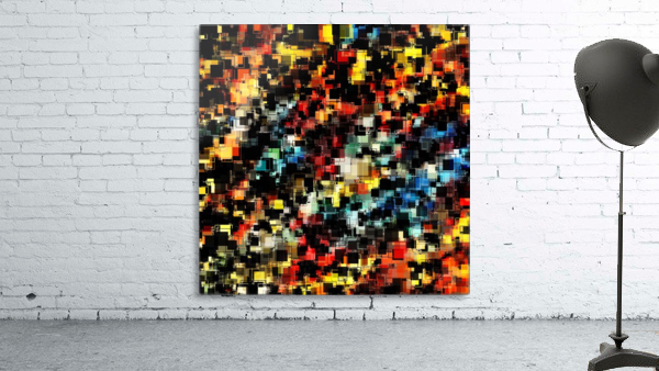 psychedelic geometric pixel square pattern abstract background in red orange blue yellow black
