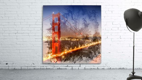 Graphic Art Golden Gate Bridge   watercolour style