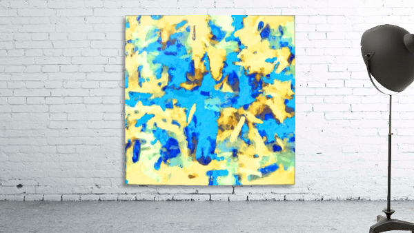 splash painting texture abstract background in blue and yellow