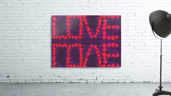 LOVE with pink rose on the purple wood background