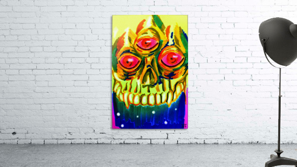 Three eyed skull painting