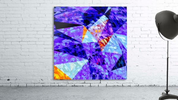 vintage psychedelic geometric triangle polygon pattern abstract in purple blue orange