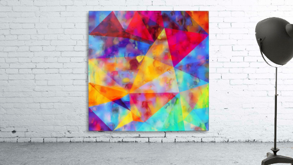 vintage psychedelic triangle polygon pattern abstract in orange yellow red blue purple