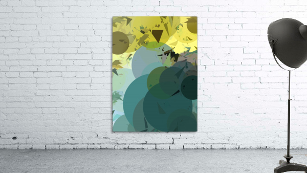 geometric circle and triangle pattern abstract in blue and yellow